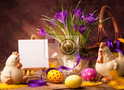 art Wielkanoc tła z kwiatów i jaja wielkanocne