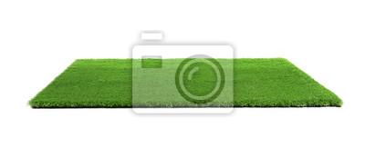 Naklejka Artificial grass carpet on white background. Exterior element