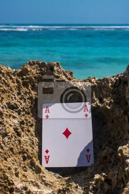 Naklejka asa karcianego pokera motyw plaży