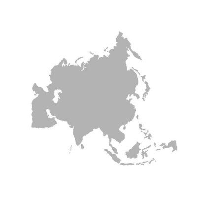 Naklejka Asia outline world map - Vector