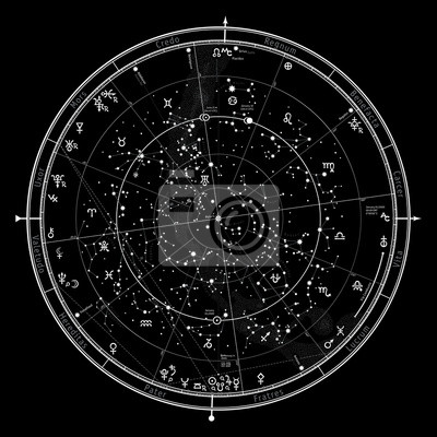 Naklejka Astrological Celestial Map of The Northern Hemisphere. The General Global Universal Horoscope on January 1, 2020 (00:00 GMT). Detailed chart with symbols and signs of Zodiac, planets, asteroids & etc.