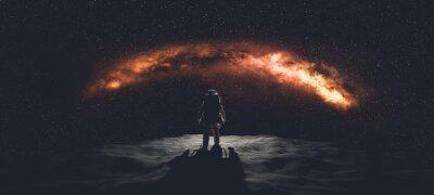 Naklejka Astronaut doing space walk. Mars exploration.
