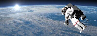Naklejka Astronauta lub kosmonauta latania na ziemi - 3D render