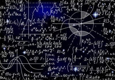 Naklejka Astronomical scientific vector seamless pattern with handwritten math formulas, equations and figures over the starry sky