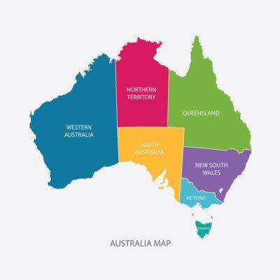 Naklejka Australia map COLOR z regionami płaska ilustracji wektorowych