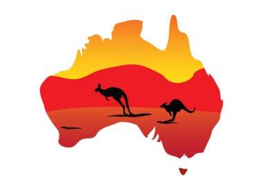 Naklejka Australia map i dwa skacze kangur