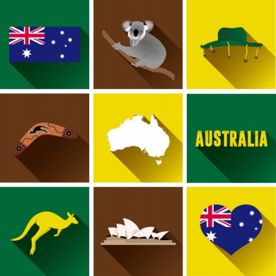 Naklejka Australia Płaski zestaw ikon. Zestaw Vector Graphic płaskich ikon reprezentujących zabytków i symboli Australii.