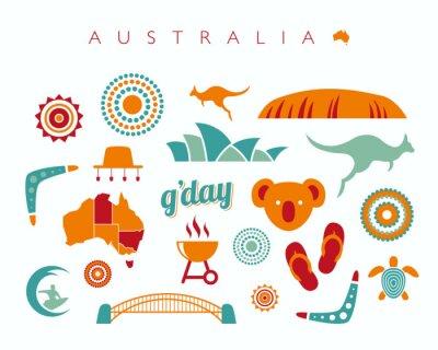 Naklejka Australia zestaw ikon - Ilustracja wektora