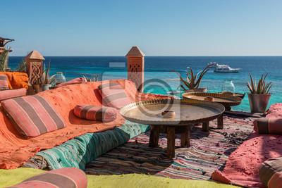 Naklejka autentyczne arabski cafe na wybrzeżu Morza Czerwonego, Egipt