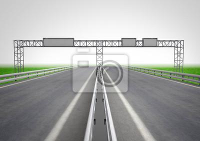 Autostrada z drogowskaz na koncepcji budowy