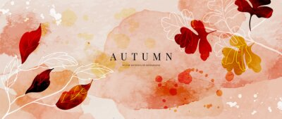 Naklejka Autumn background design  with watercolor brush texture, Flower and botanical leaves watercolor hand drawing. Abstract art wallpaper design for wall arts, wedding and VIP invite card. vector eps10