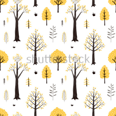 Naklejka autumn forest pattern