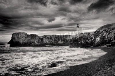 Naklejka B & W Latarnia morska na brzegu w Newport, w stanie Oregon.