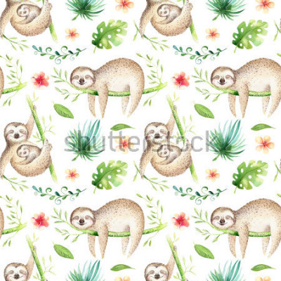 Naklejka Baby animals sloth nursery isolated seamless pattern. Watercolor boho tropical drawing, child tropical drawing cute palm tree leaves, tropic green texture,exotic flower. Aloha backgraund