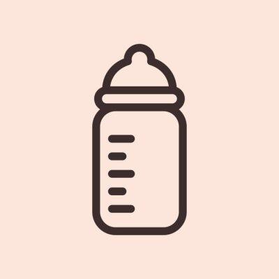 Baby Milk Bottle Minimalistyczna płaska linia Solidna ikona piktogram symbol skoku