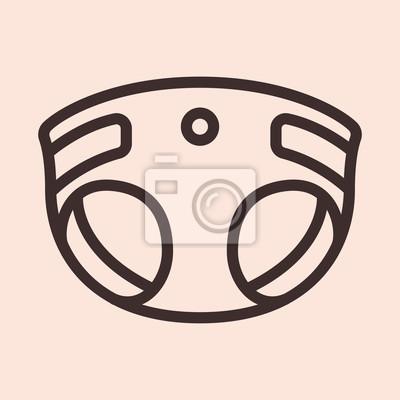 Baby pieluchy minimalistyczne płaskie koło koło udar piktogram ikona symbol