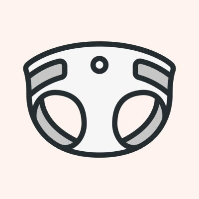 Baby pieluchy minimalistyczny kolor płaskiej linii obrysu ikona piktogram symbol