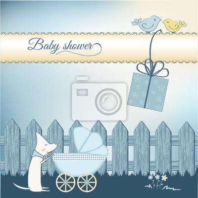 Naklejka Baby shower chłopiec aouncement