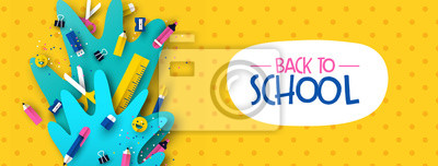 Naklejka Back to school banner fun kids papercut supplies