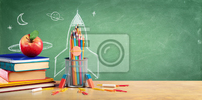 Naklejka Back To School - Books And Pencils With Rocket Sketch