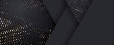 Naklejka Background, black and gold halftone shine dots on geometric triangle pattern, vector. Golden confetti glitter on black gradient background, glittery polygon or 3d abstract card layout