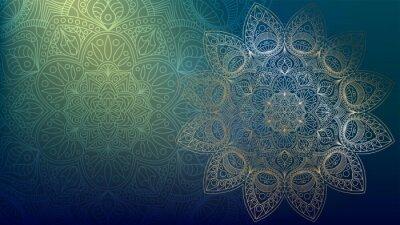 Naklejka Background with golden mandalas, round indian pattern, muslim pattern