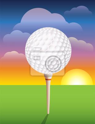 Ball Golf na tle Tee
