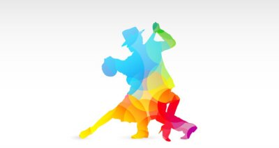 Naklejka Ballerini di tango, Colori, fantazja, danza, Ballerini, tango