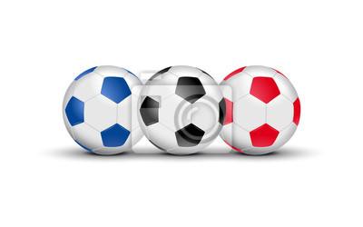 Balloons de foot tricolores - Bleu Blanc Rouge