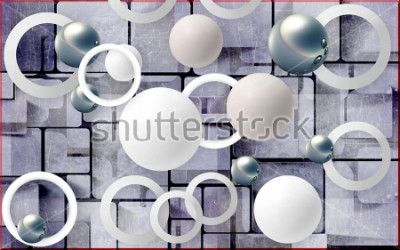 Naklejka Balls and circles on an abstract background. Photo wallpaper for wall. 3D rendering.