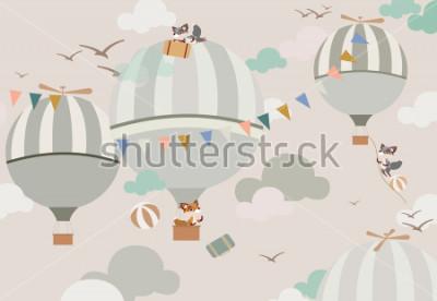 Naklejka balony na niebie do lisów w delikatnych tonach