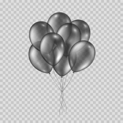 Balony na przezroczystym tle. Wektorowa realistyczna wiązka helowych czarnych balonów szablon.