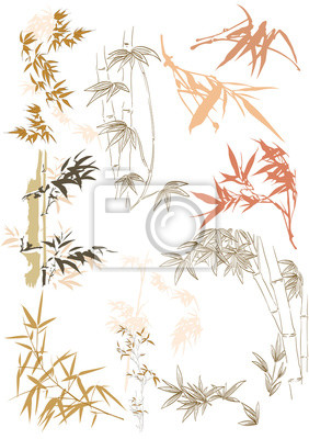 Naklejka Bamboo icons vector. Hand drawn leaves in Japanese and Asian style.