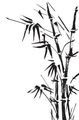 Naklejka Bambusa oddziałów samodzielnie na białym tle. Wektor