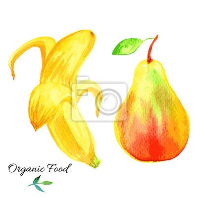 Naklejka Banan, jabłko rysowane ręcznie akwarela ilustracja na białym tle