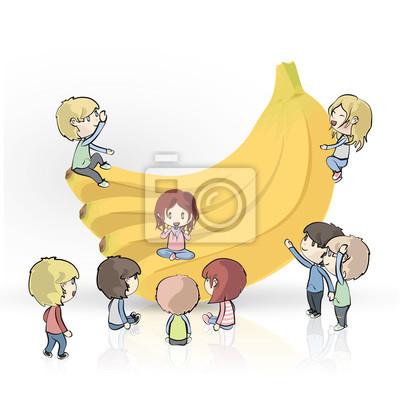 Banany z wielu dzieci na białym tle. Vector design.