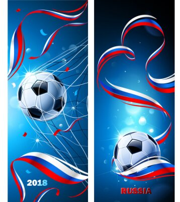 Banery Piłka nożna z flagą Rosji. Wektor