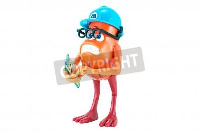 Naklejka Bangkok, Tajlandia - 19 stycznia 2015: Grzyb zabawka postać z filmu Monsters Inc. Disney Pixar przez. Grzyb jest mały czerwony potwór z nóg podobne do tych z kurczakiem i trzema oczami. Nosi okulary t