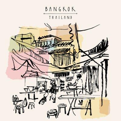 Naklejka Bangkok, Tajlandia ręcznie rysowane pocztówki