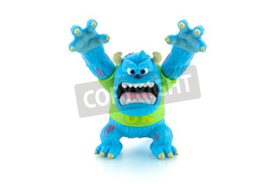 Naklejka Bangkok,Thailand - March 19, 2015: Scarers James P. Sullivan Sulley figure toy character from Monsters University movie by Disney Pixar animation studio.