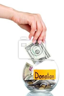Bank Szkło do wskazówek z pieniędzmi i ręcznie samodzielnie na białym tle. Ukrai
