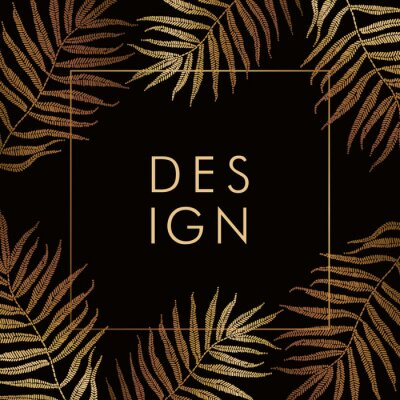 Banner design template with golden tropical leaves