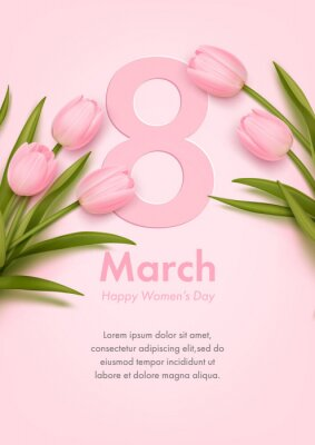 Banner for the international women's day with realistic pink tulips. Poster, flyer or greeting card design template. Vector illustration