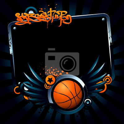 Banner koszykówki na tle nowoczesnego