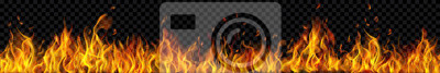 Naklejka Banner of translucent fire flames and sparks with horizontal repetition on transparent background. For used on dark illustrations. Transparency only in vector format