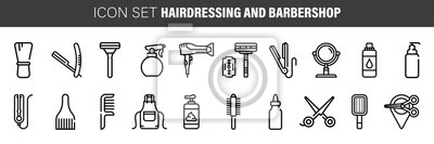 Naklejka Barber shop icon set, outline thin line isolated vector sign symbol, hairdressing tools