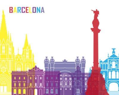 Naklejka Barcelona skyline pop