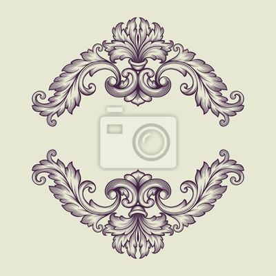 Barokowa ramka vintage wektora wzór przewijania