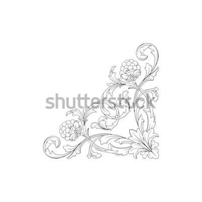 Naklejka Barokowy ornament z filigranem w formacie wektorowym dla projektu ramki, wzór. Vintage ręcznie rysowane wiktoriański lub adamaszku kwiatowy element. Czarno-biały grawerowany atrament.