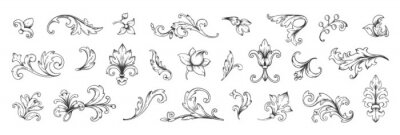 Naklejka Baroque engraved. Victorian floral ornamental borders, vintage decorative frame elements. Vector illustration royal set for wedding invitation and greeting cards, ornaments romantic invitations